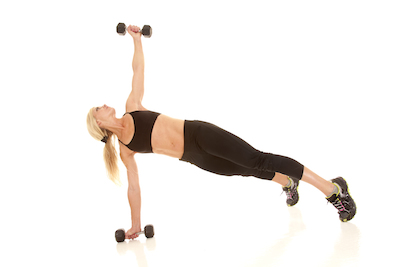 women doing pushup back fly with dumbell